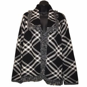 Chico's Posh Plaid Open Front Fringed Cardigan~L
